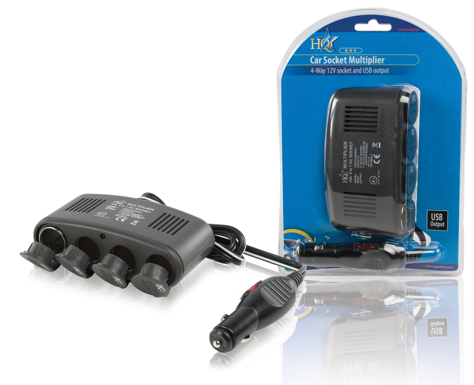 4-weg autoverdeeladapter 12 V + USB
