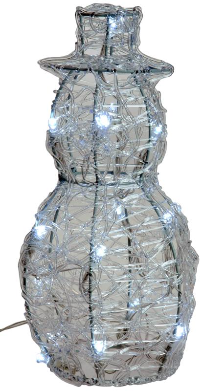 Acryl sneeuwman met 16 LED's 25cm