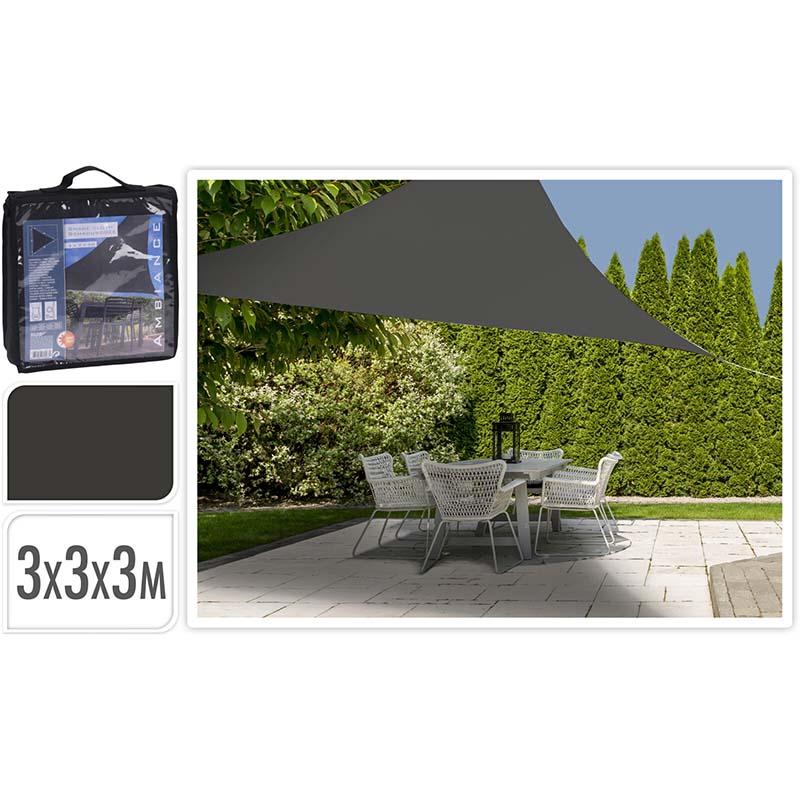 Schaduwdoek driehoek 3x3x3m - donkergrijs