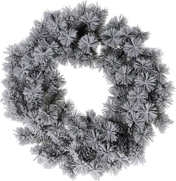 Kerstkrans - groen met sneeuw - 50 cm
