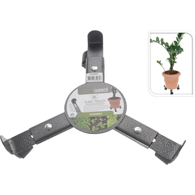 Metalen verrijdbare houder met 3 wieltjes voor bloempotten. de plantentrolley kun je aan de onderzijde ...