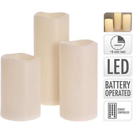 LED kaarsen - geschikt voor buiten - met timer - set van 3