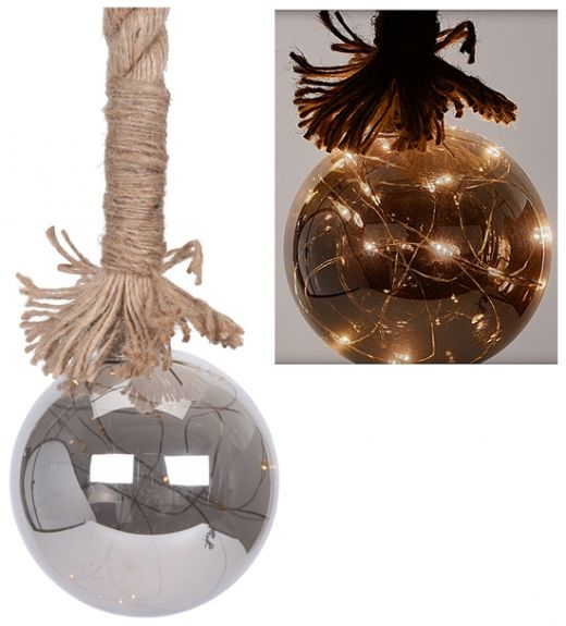 Glazen bal met 15 LED's - 10cm - met timer