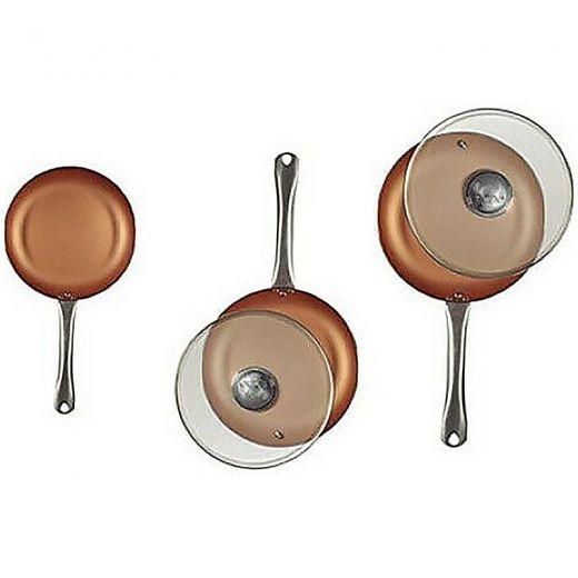 Koekenpannen(3x) met glazen deksels (2x)