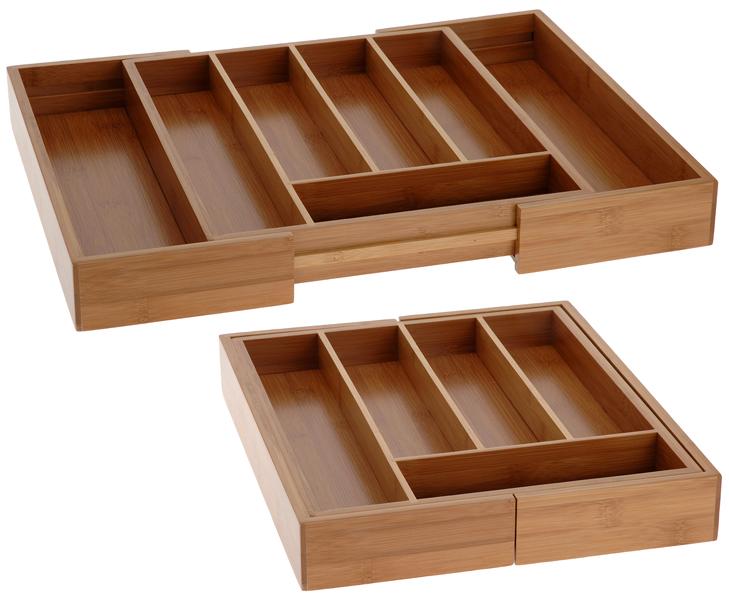 Excellent houseware uitschuifbare bestekbak    materiaal: bamboe.  door de 2 zijkanten uit te trekken wordt ...