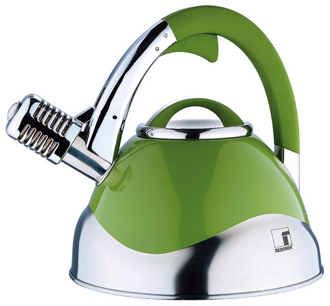 Bergner Roestvrijstalen microfoon-fluitketel (3 liter) groen