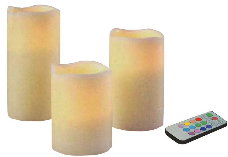 "LED Kaarsen ""Colour Changing"" met afstandsbediening (set 3 st)"